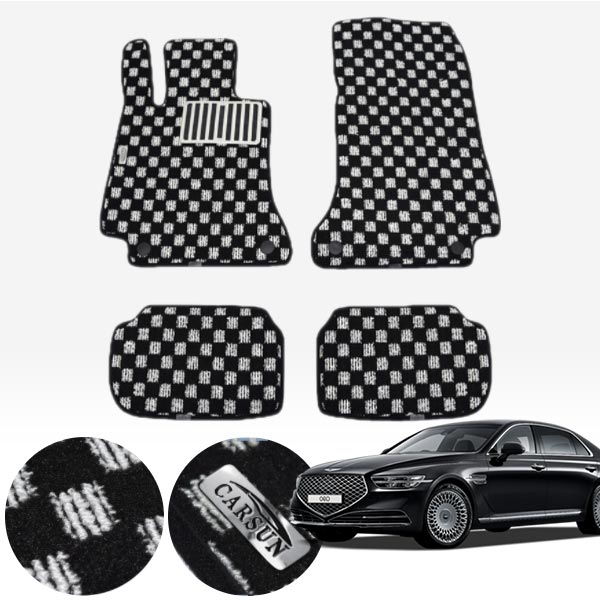 제네시스 G90 2륜/사륜 킹덤 카펫 매트 1열+2열 PCS-2243 cs01077 차량용품
